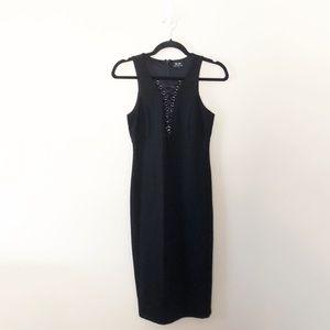 Bardot Lace Up Midi Dress Bodycon Slit Black